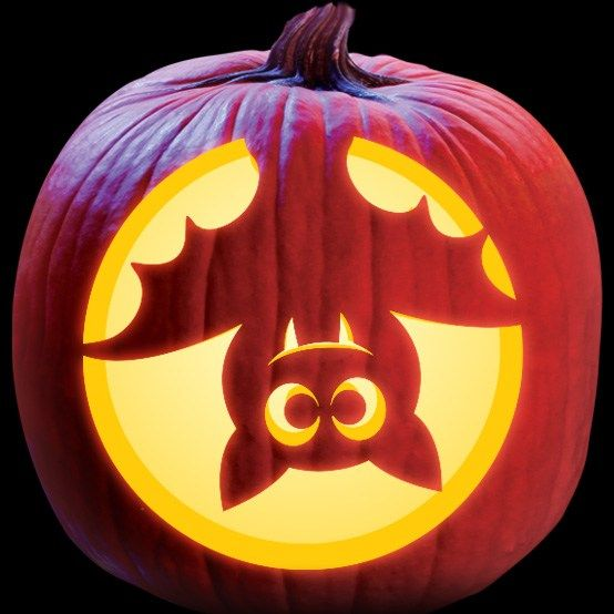 Upside Down Bat - Cute Kids Pattern - Pumpkin Masters Download & Print Carving Patterns