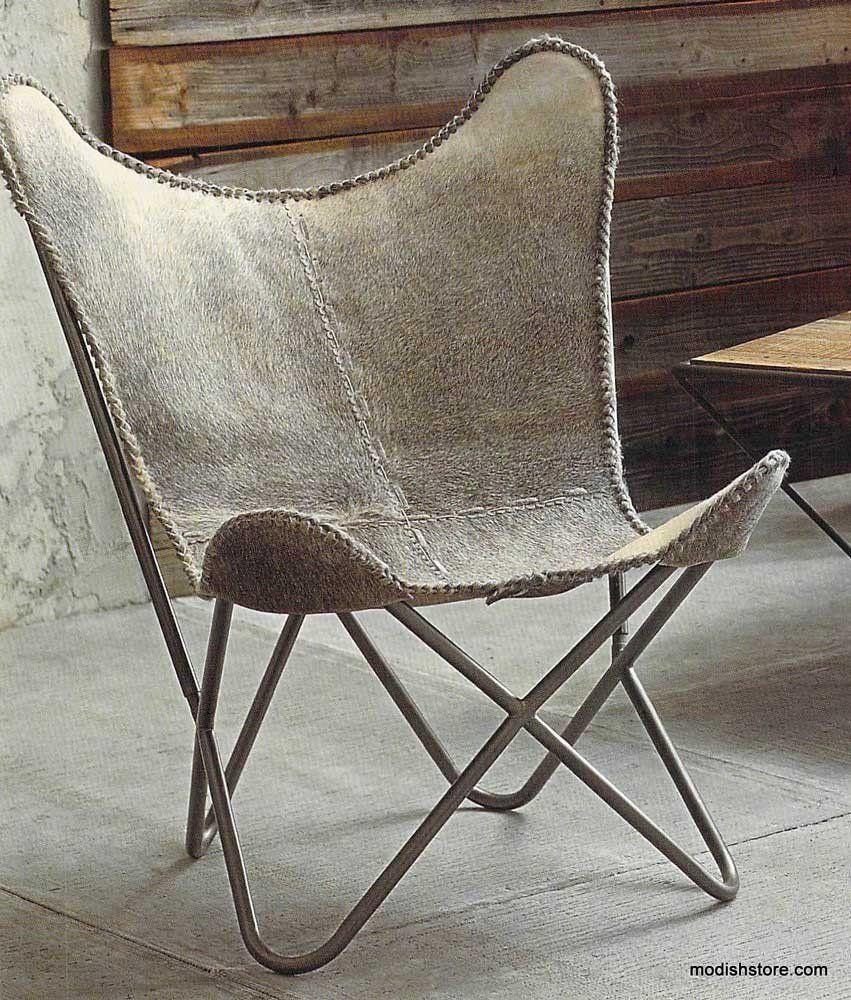 Cowhide butterfly chair - Roost Estancia Butterfly Chair Roan