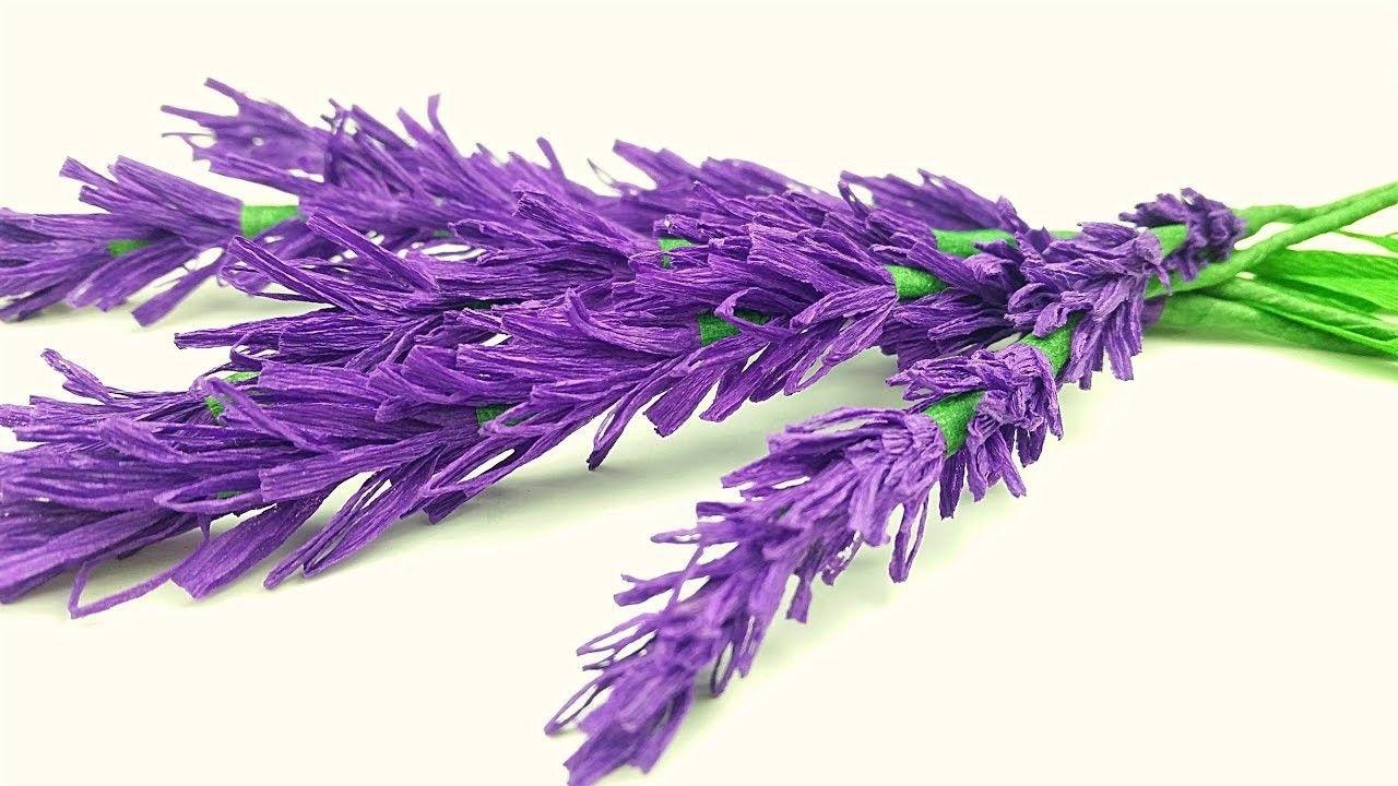 Lavender Paper Flower Making With Crepe Paper Tutorial Diy Paper