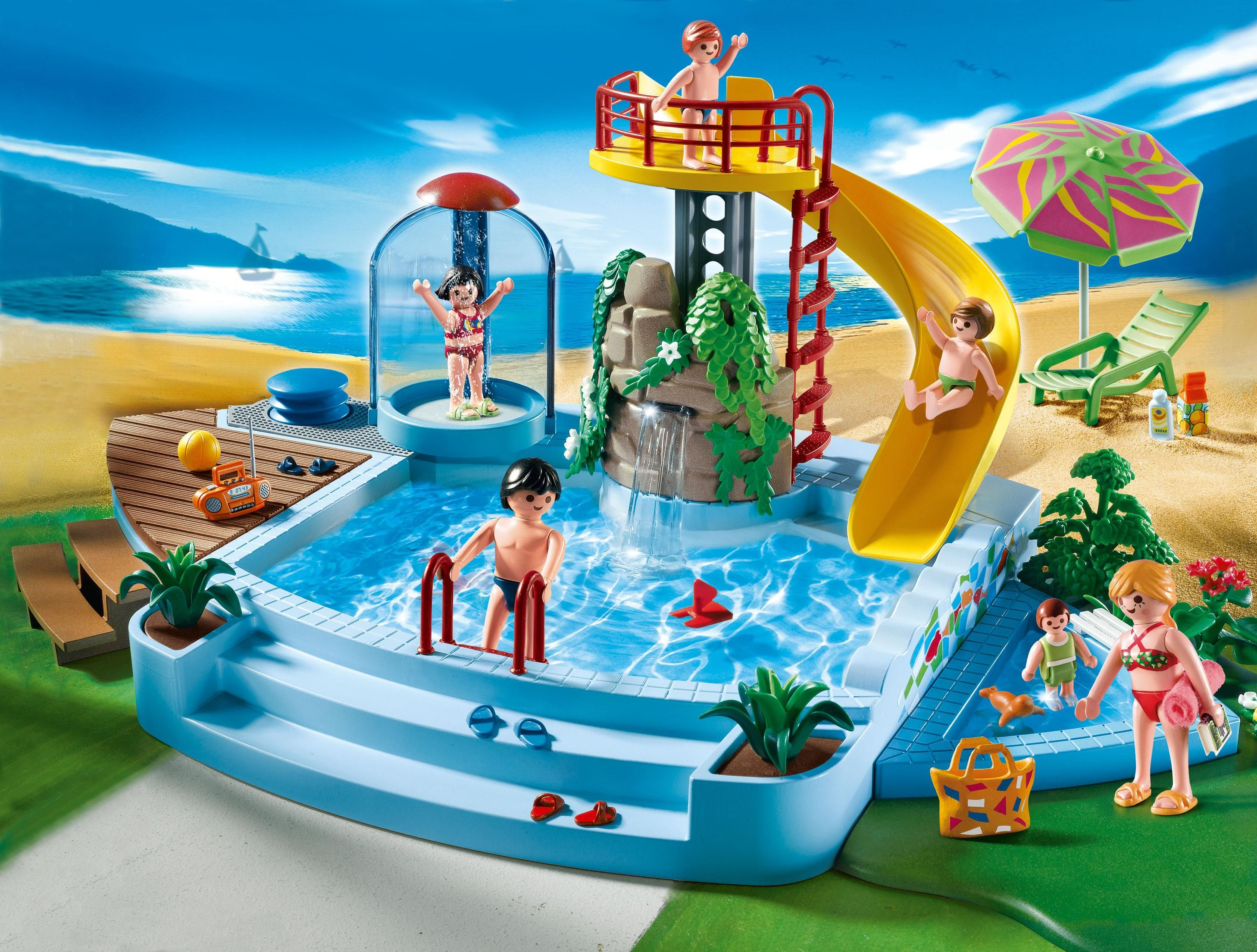 Captivating Playmobil Pool And Water Slide. So Cute.