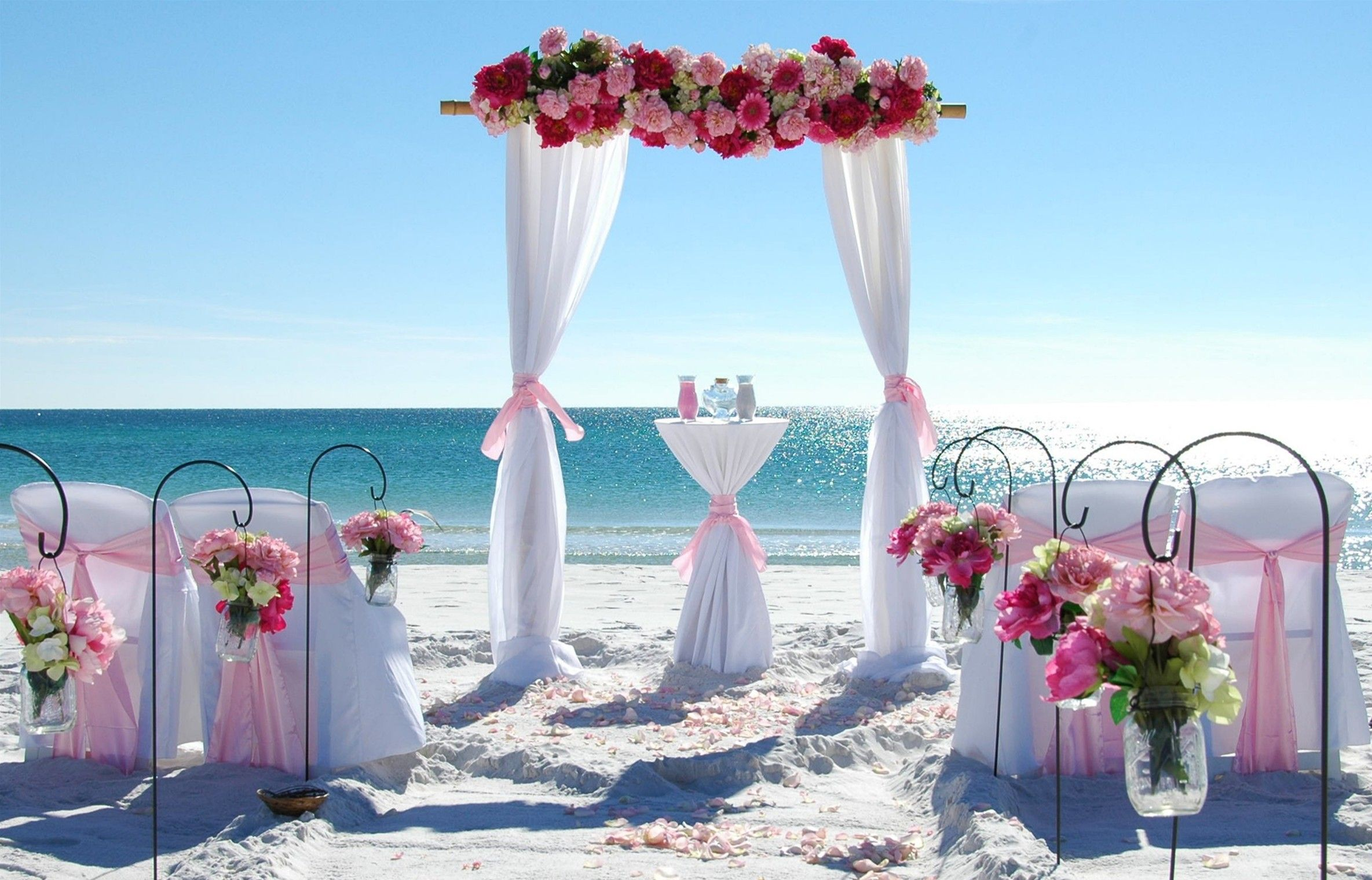 Barefoot Weddings Bliss Beach Wedding Package Includes A 2 Post Bamboo Arbor Decorated Aisle Way Sand Table Officiate