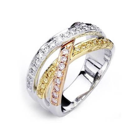 simon g diamond 18k three tone gold wedding band ring - Three Band Wedding Ring