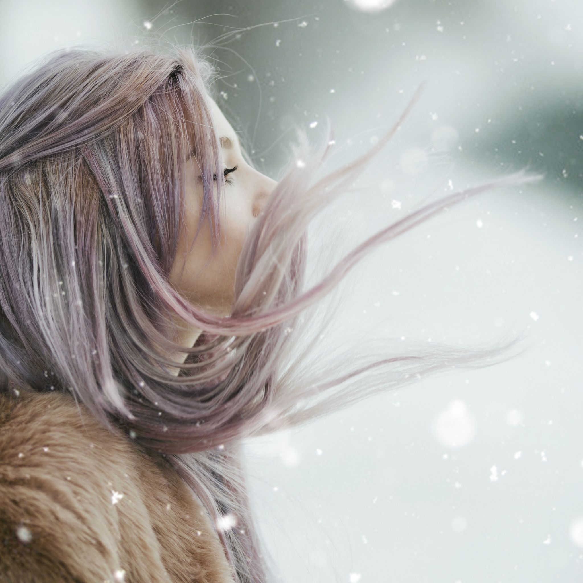 Pastely - Girl with pink hair in snow.