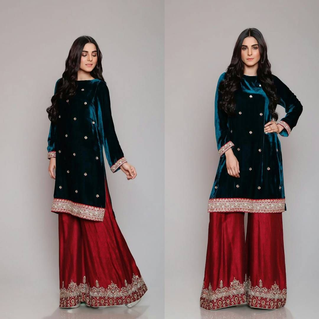 Velvet Shirt Trousers Winter Dresses Designs Latest Trends Collection 2018 19 8