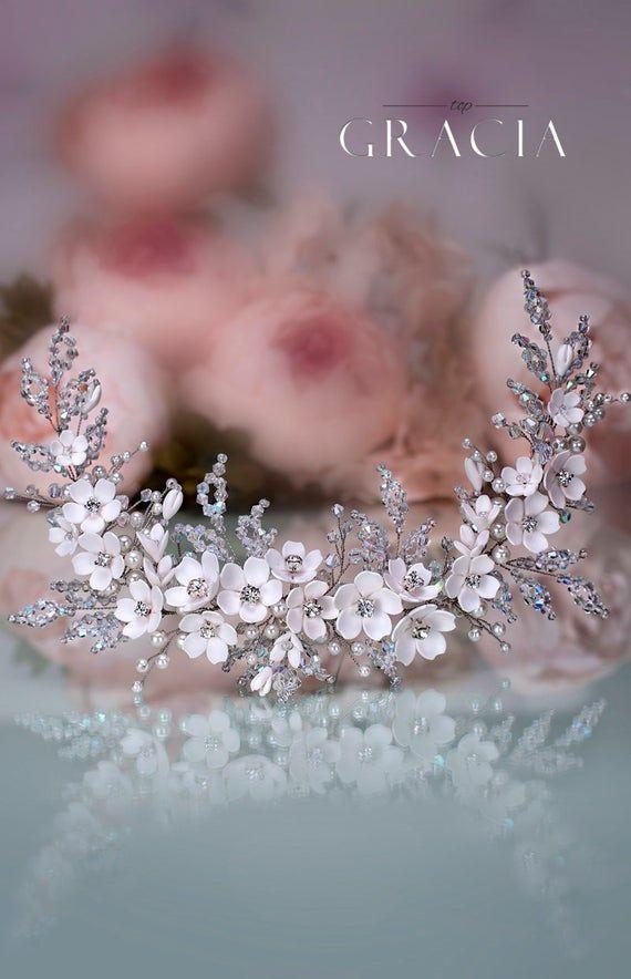 Flower Bridal hairpiece Wedding headpiece Bridal headband Bridal hair piece Bridal headpiece Wedding Back Headpiece Wedding hair accessories #brautblume