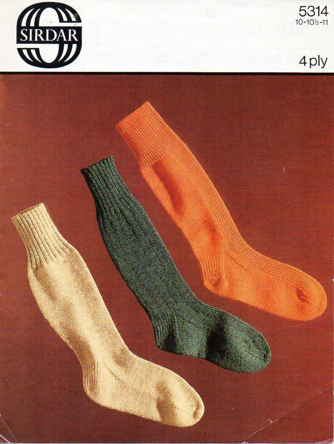 vintage Mens Socks Knitting Pattern PDF mans 4Ply long socks 10-11 ...
