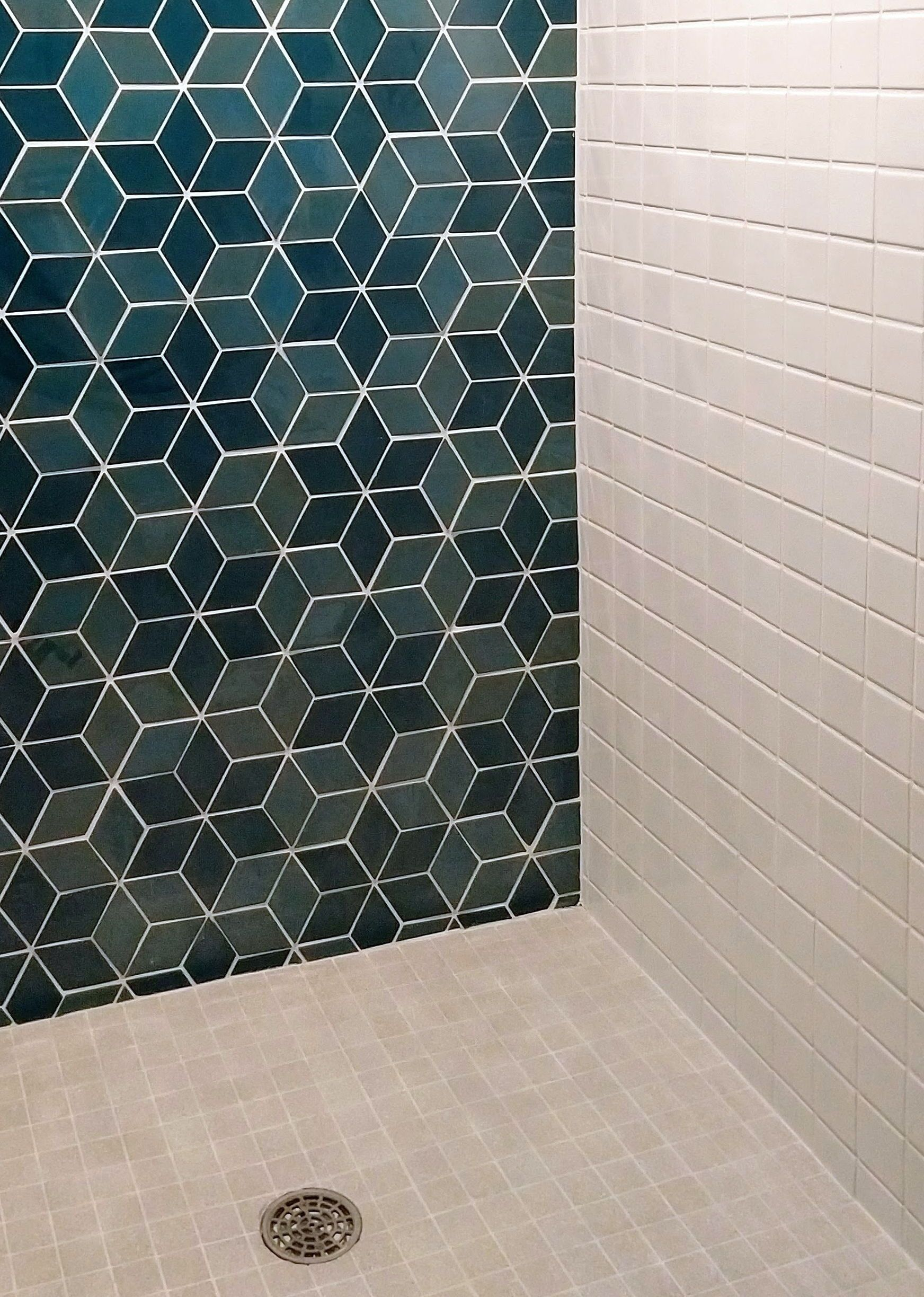 Diamond Shower Statement Wall Tile By Mercury Mosaics With