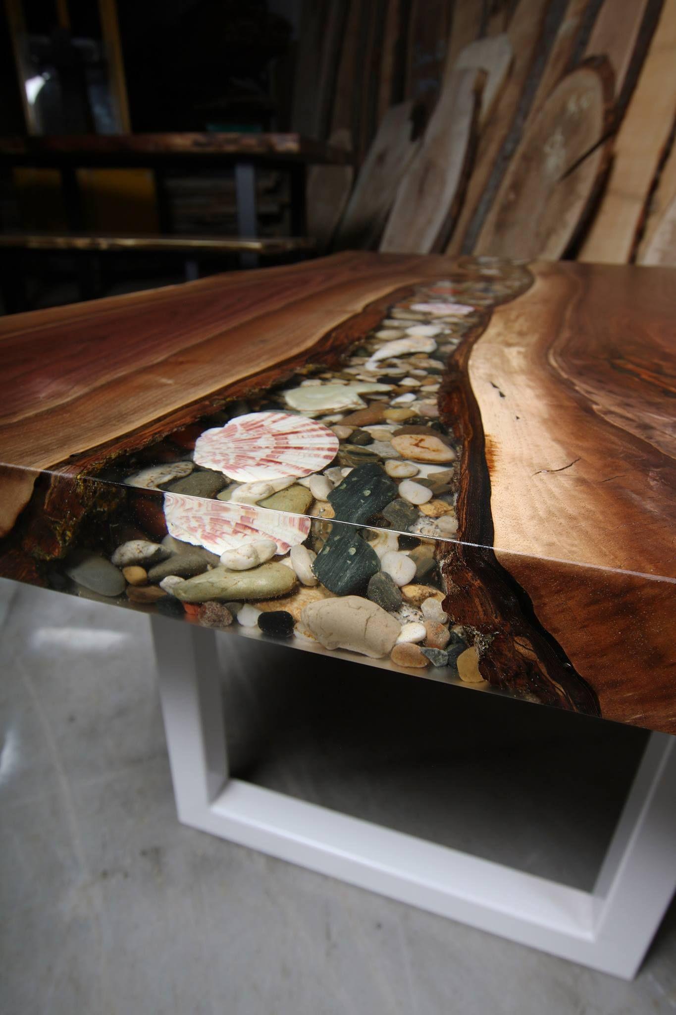 Live Edge Walnut Coffee Table with Rock filled River - Anglewood Live Edge Custom Furniture, Toronto