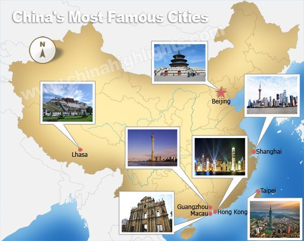 China Most Famous Cities Map HomeschoolGeogChina Unit Study - Famous cities in usa