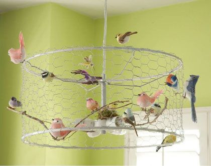 More Ideas For Lights   Whimsical Bird Chandelier With Chicken Coop Wire # DIY #recycle