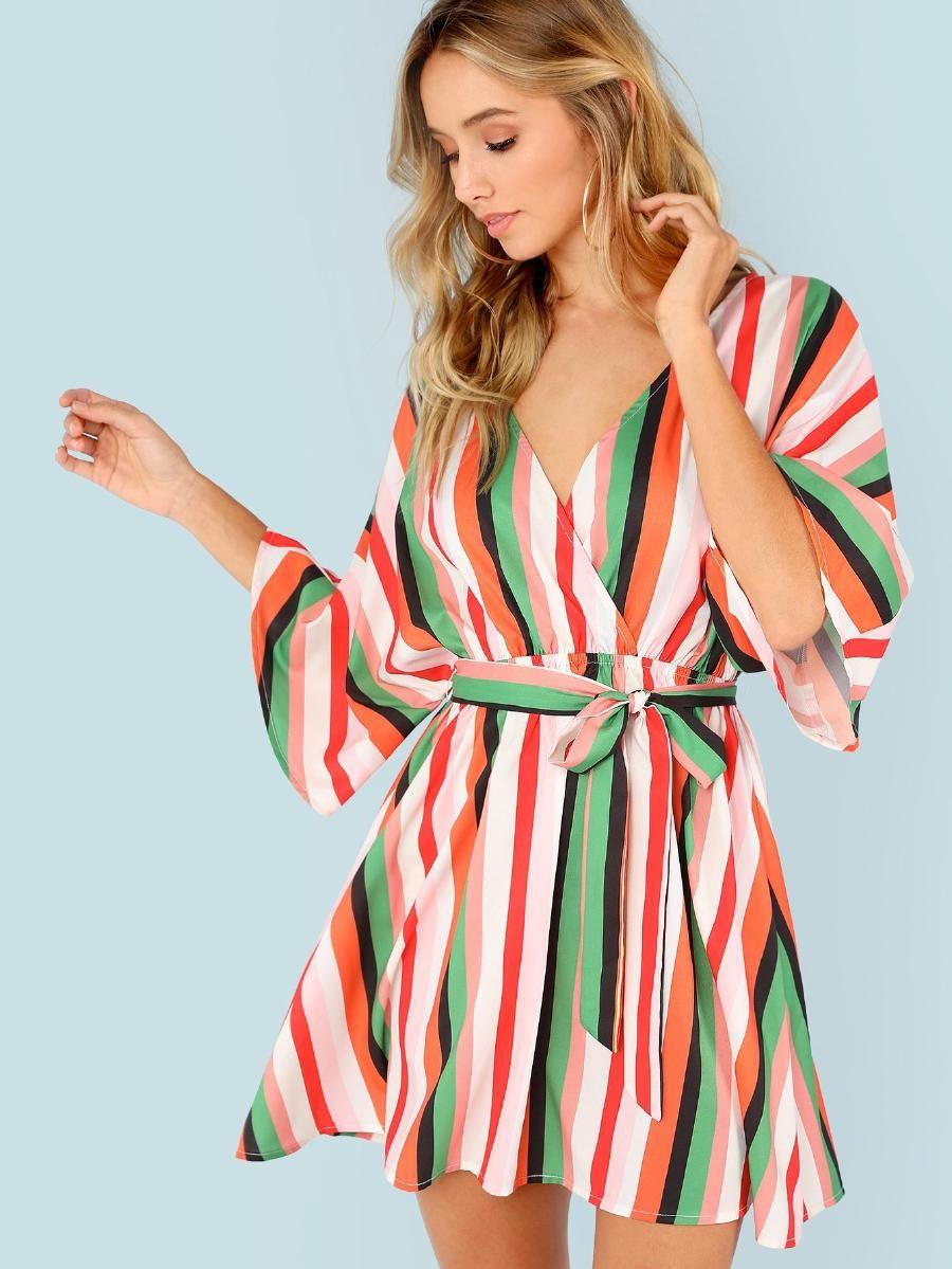 Flutter Sleeve Self Belted Striped Surplice Wrap Dress Shein Sheinside Surplice Wrap Dress Wrap Dress Fashion [ 1199 x 900 Pixel ]