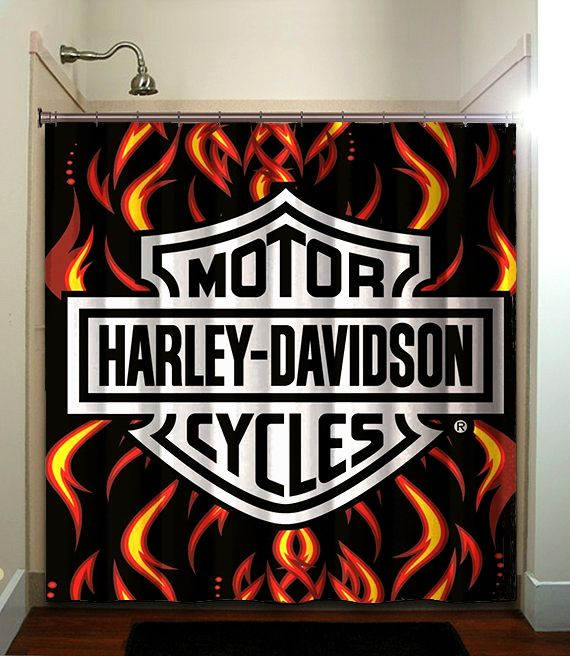 HARLEY DAVIDSON Printed Waterproof Polyester Fabric Shower Curtain With Latest Design Our Will Brighten Your Bathroom And Create A Comfortable