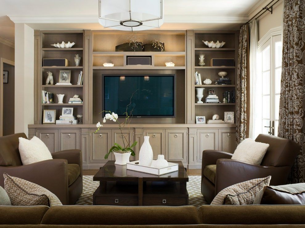 Hidden Tv Cabinet Living Room Contemporary With Built In Cabinets