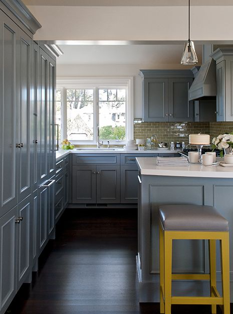 Gorgeous kitchen with blue-gray kitchen cabinets accented with ...