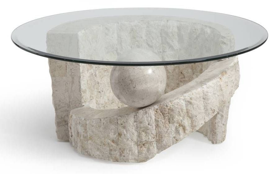Magnussen Home Ponte Vedra Natural Glass Round Cocktail Table Top Round Glass Coffee Table Round Cocktail Tables Stone Coffee Table