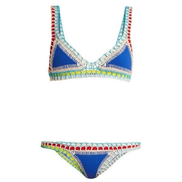 Kiini Tuesday crochet-trimmed triangle bikini (19,020 INR) ❤ liked on Polyvore featuring swimwear, bikinis, royal blue bikini, rainbow swimwear, triangle bikinis, bikini beachwear and bikini swim wear
