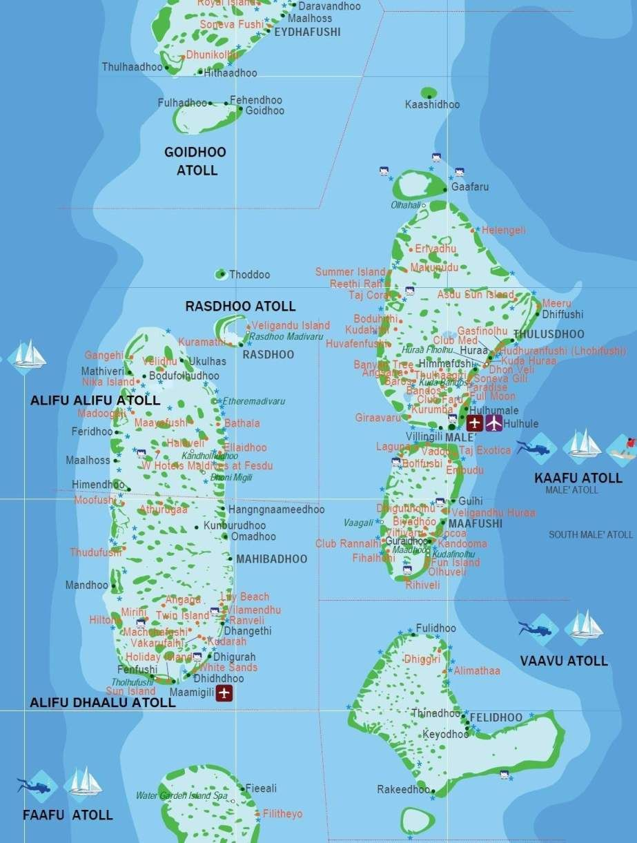 The Maldives  a group of about 1 200 islands  separated into a     The Maldives  a group of about 1 200 islands  separated into a series of  coral atolls  is just north of the Equator in the Indian Ocean