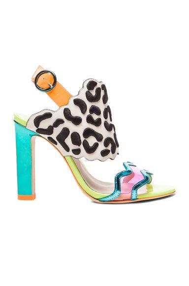 Sophia Webster Dionne Leopard Leather Heels in Eggnog   Black ... 64d3a7db50