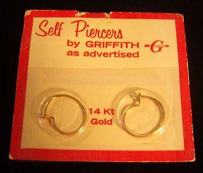 14K Self Piercers by Griffith Self Piercing Hoop Earrings ...