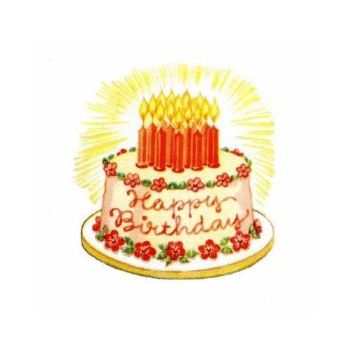 Vintage Happy Birthday Cake Stickers Arts Crafts VINTAGE CAKE
