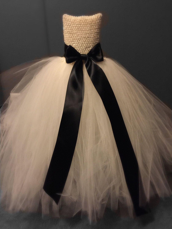 Burlap wedding dress sash  Flower Girl Tutu Dress Girls Tutu Flower Girl Dress Ivory Flower