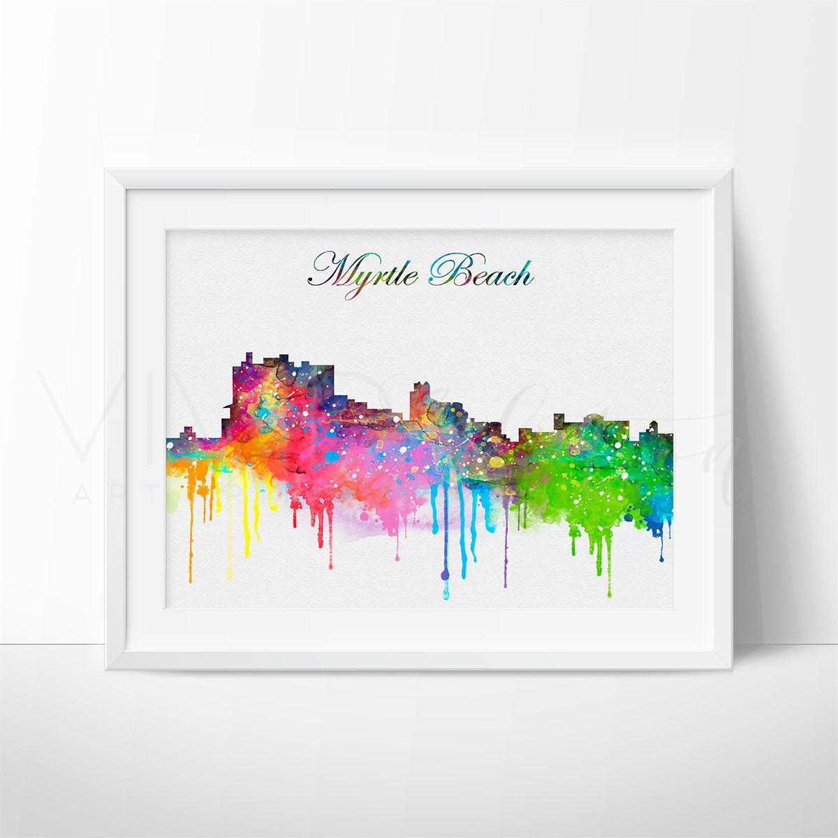 Myrtle Beach Skyline Cityscape Watercolor Art Print Wall Decor