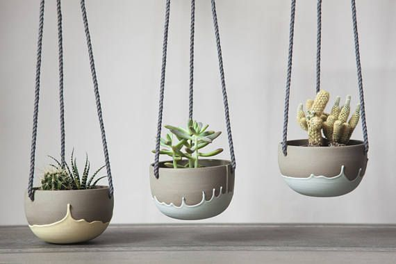 Photo of Small plant hanger turquoise and gray. Pottery hanging on planters. Sweet planters. Cactus, succulent, plant pot