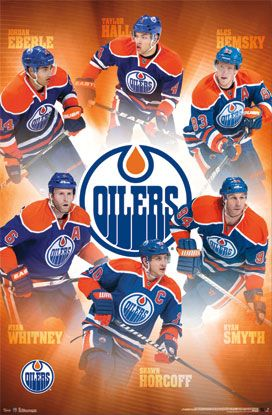 Edmonton Oilers Superstars NHL Hockey Action Poster - Costacos 2013 - there has been a few changes here. Hemsky traded, Whitney gone, Smyth retired and Horcoff traded. Well, we still have Hall and Eberle. Two out of six, not bad.