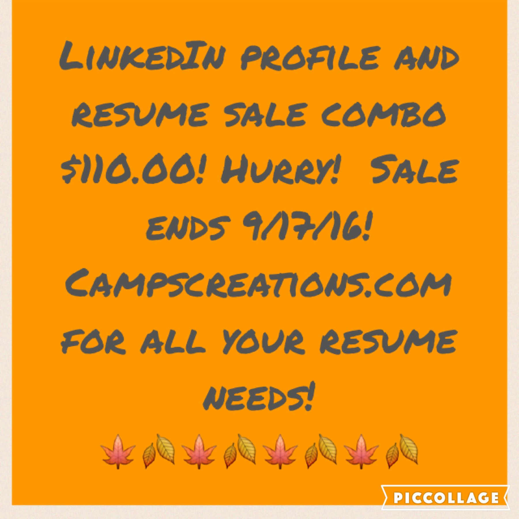 Resume and LinkedIn combo sale going on now! Editing