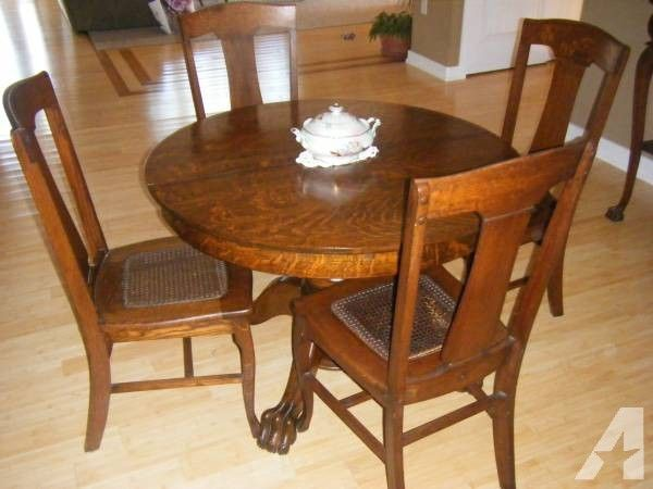 ANTIQUE OAK TIGER WOOD DINING ROOM SET - $1800 Round Oak Dining Table, Oak  Table - ANTIQUE OAK TIGER WOOD DINING ROOM SET - $1800 Chairs Pinterest