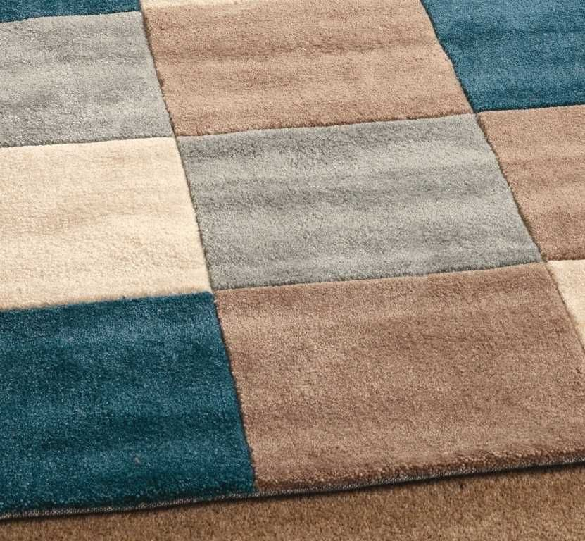 Squares Teal / Duck Egg Blue Rugs