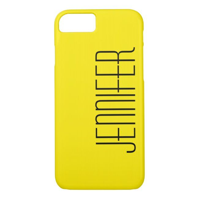 Modern Bright Warm Yellow Personalized Big Name iPhone 87 Case