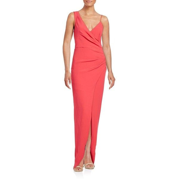 Nicole Miller Ruched Asymmetrical Gown ($220) ❤ liked on Polyvore ...