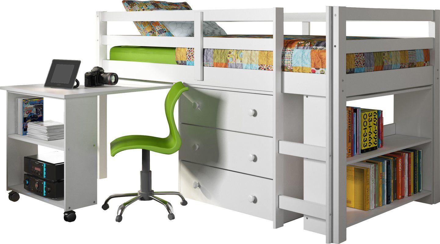 Javin loft bed with desk  Senger Twin Low Loft Bed with Storage  Loft Options  Pinterest