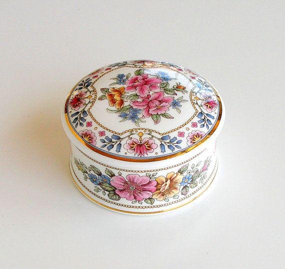 English Bone China Trinket Box White Pink Floral Vintage Chinacraft London Trinket Boxes Trinket English Bone China