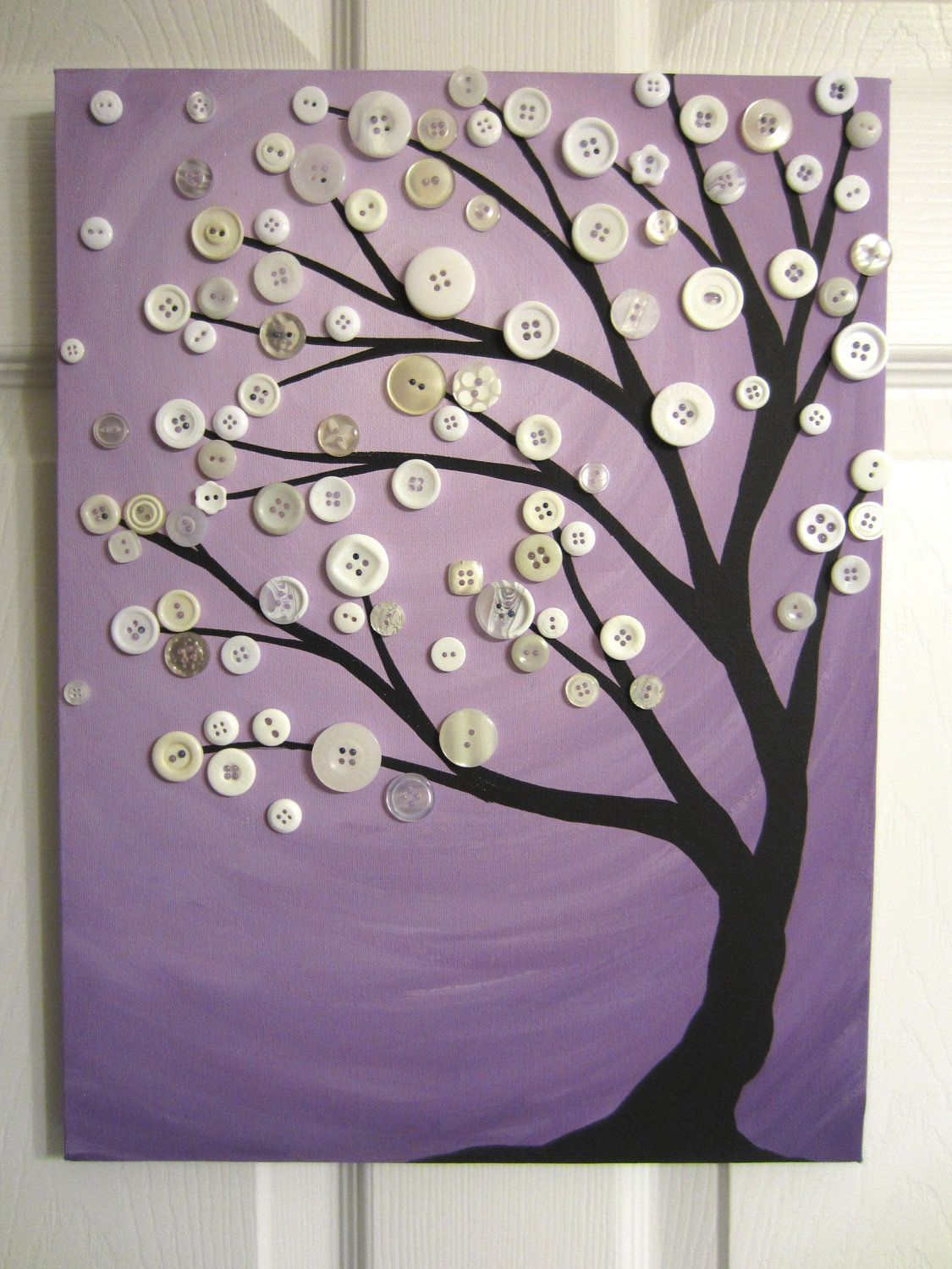 Purple and White Button Tree Painting- Original Acrylic with Vintage Buttons  on Canvas- pretty!