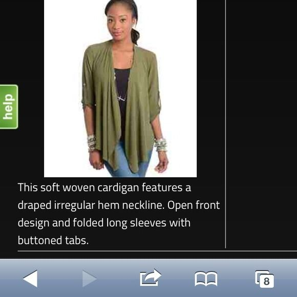 Olive sheer sleeved cardigan with tapestry back. Amazingly stunning cardigan. Olive is the new black. Everyone on TV and on the street is wearing this color now. The sleeves have tabs. Very flowy. The front is longer so u see both the gorgeous flower woven tapestry and the olive from the back. Third pic is $15 and goes perfectly and makes the outfit.  Or wear your own cami or tank underneath. Any kind of bottom will look great. crop top is $15 or $13 with the cardigan. Let me know if what…