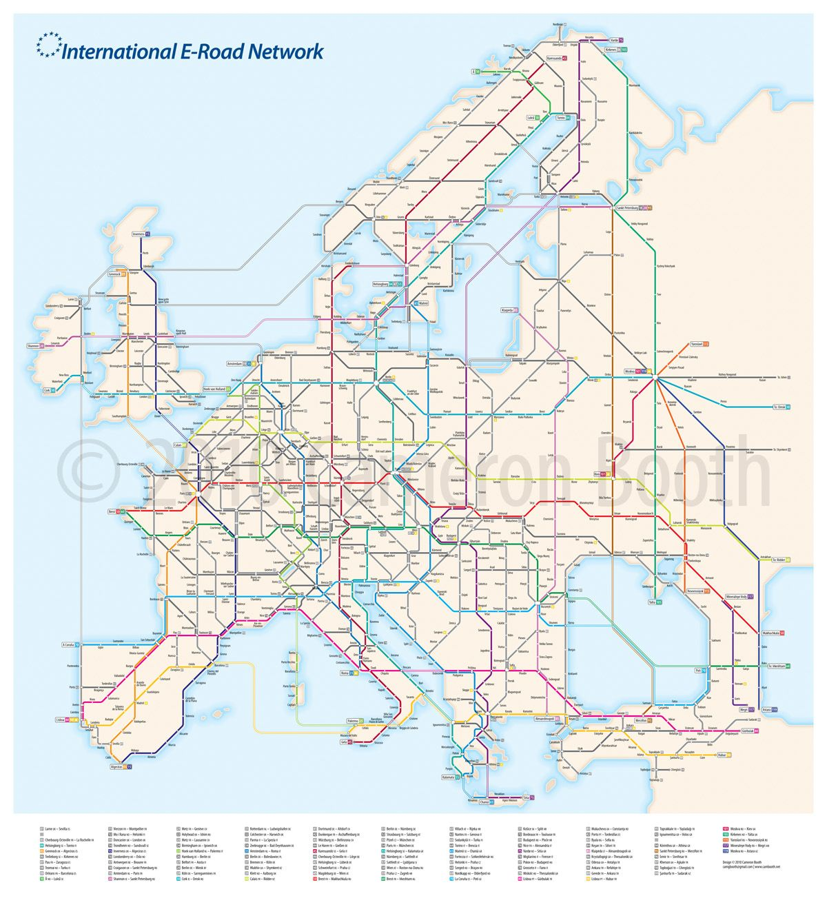 E Subway Map.Project European E Road System As A Subway Diagram Places