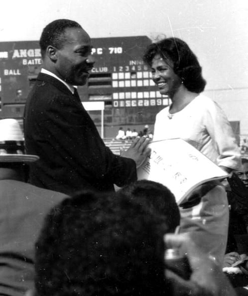 Dorothy Dandridge introduces Martin Luther King Jr. during a freedom rally in Los Angeles, May 26th, 1963.