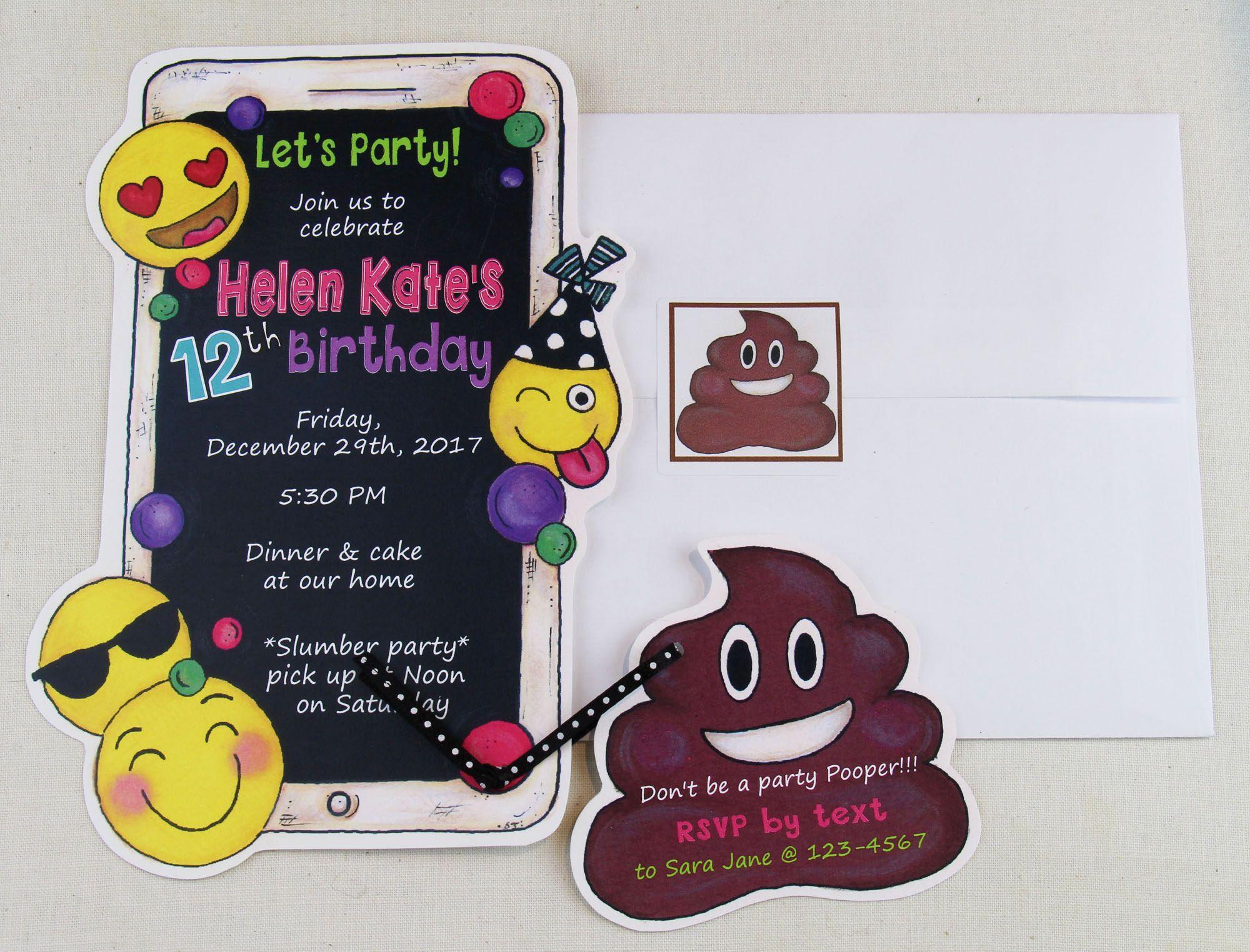 10 Emoji Birthday Party Invitations - Mobile Phone Birthday ...