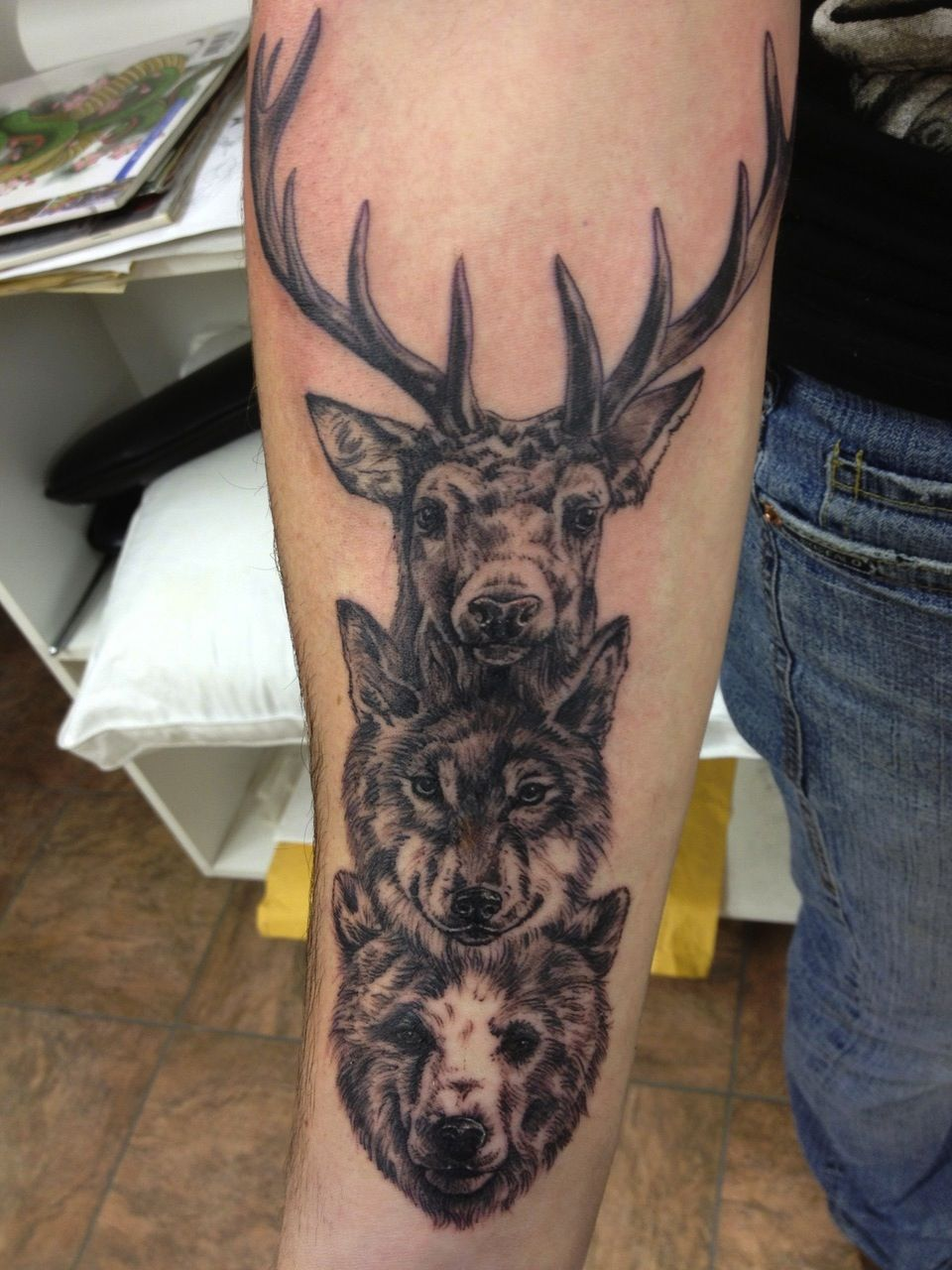 Bear Wolf And Deer Totem Pole Blackwork Tattoo Love This So Much