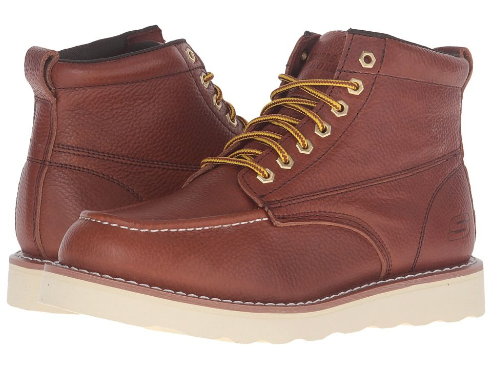 60b26b68be SKECHERS Work Pettus Wedge Men s Work Boots Red Brown Pitstop Leather