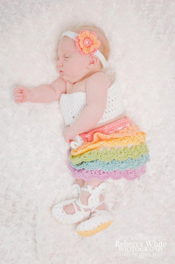 Crochet Baby Girl Outfit Flower Headband by livinginivory ...