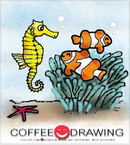 Coffee Drawing สอนเด กวาดร ป Part 43 ม าน ำและปลาการ ต น ม าน ำ