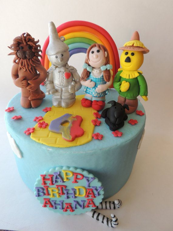 Fondant Movie Themed Cake Toppers Dorothy Tin Man Scare Crow