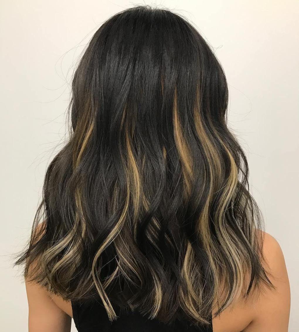 40 Ideas Of Peek A Boo Highlights For Any Hair Color Hair Color For Black Hair Black Hair With Blonde Highlights Blonde Peekaboo Highlights