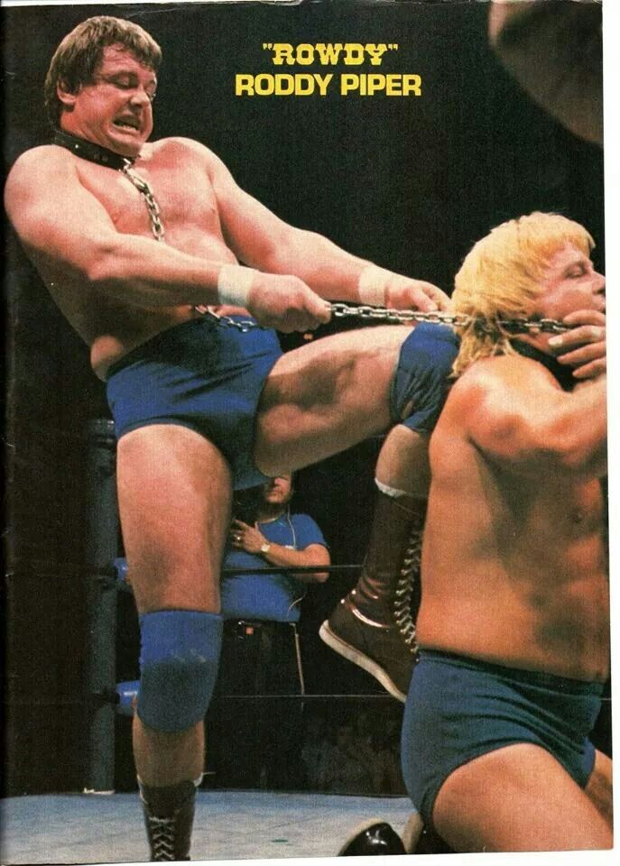 """Rowdy Roddy Piper and Greg """"The Hammer"""" Valentine in the infamous Dog Collar Match - SJ 