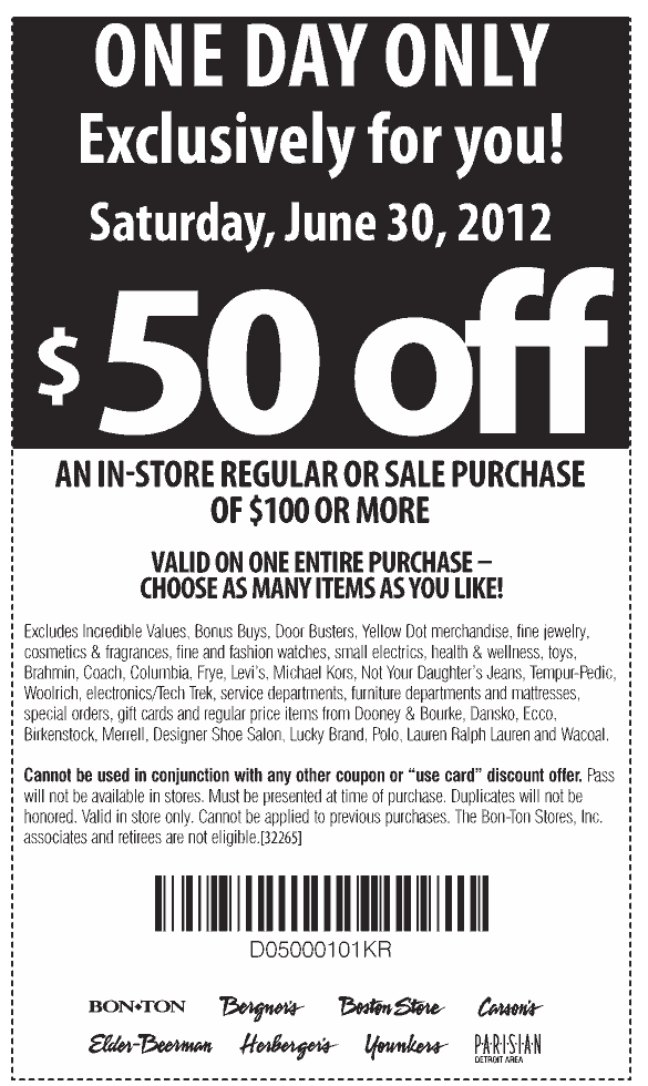 image about Carsons in Store Coupons Printable referred to as $50 off $100 presently at Carsons, Bon Lot and sister merchants