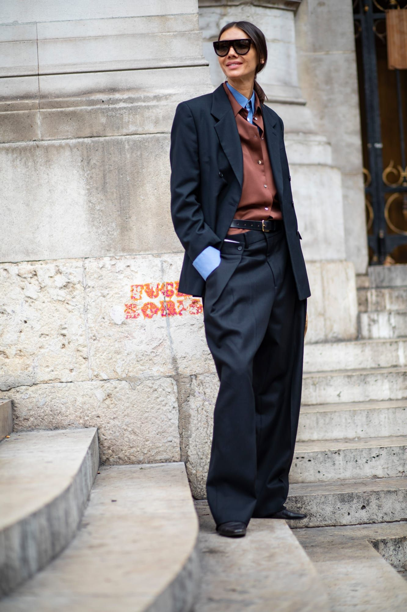The Street Style Crowd Wore Blue Denim on Day 7 of Paris Fashion Week #denimstreetstyle