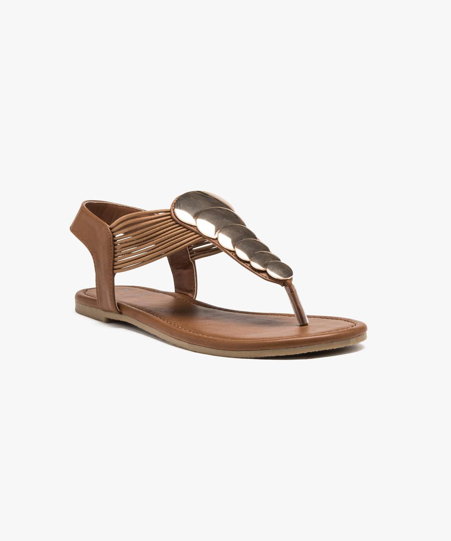 Sandales plates dessus bijoux Camel
